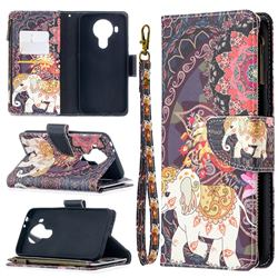 Totem Flower Elephant Binfen Color BF03 Retro Zipper Leather Wallet Phone Case for Nokia 5.4