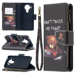 Chainsaw Bear Binfen Color BF03 Retro Zipper Leather Wallet Phone Case for Nokia 5.4