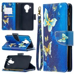 Golden Butterflies Binfen Color BF03 Retro Zipper Leather Wallet Phone Case for Nokia 5.4