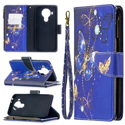 Purple Butterfly Binfen Color BF03 Retro Zipper Leather Wallet Phone Case for Nokia 5.4