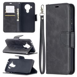 Classic Sheepskin PU Leather Phone Wallet Case for Nokia 5.4 - Black