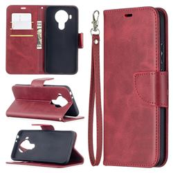 Classic Sheepskin PU Leather Phone Wallet Case for Nokia 5.4 - Red