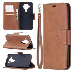 Classic Sheepskin PU Leather Phone Wallet Case for Nokia 5.4 - Brown