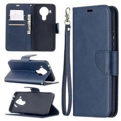 Classic Sheepskin PU Leather Phone Wallet Case for Nokia 5.4 - Blue