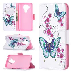 Peach Butterflies Leather Wallet Case for Nokia 5.4