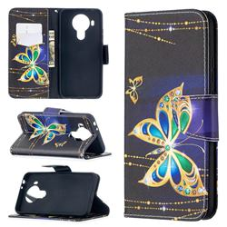 Golden Shining Butterfly Leather Wallet Case for Nokia 5.4