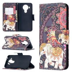 Totem Flower Elephant Leather Wallet Case for Nokia 5.4