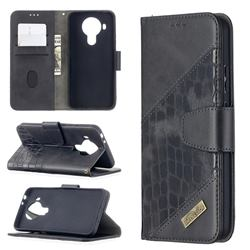 BinfenColor BF04 Color Block Stitching Crocodile Leather Case Cover for Nokia 5.4 - Black