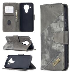 BinfenColor BF04 Color Block Stitching Crocodile Leather Case Cover for Nokia 5.4 - Gray
