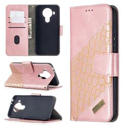 BinfenColor BF04 Color Block Stitching Crocodile Leather Case Cover for Nokia 5.4 - Rose Gold