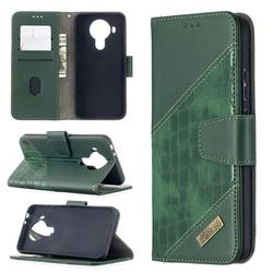 BinfenColor BF04 Color Block Stitching Crocodile Leather Case Cover for Nokia 5.4 - Green