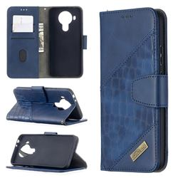 BinfenColor BF04 Color Block Stitching Crocodile Leather Case Cover for Nokia 5.4 - Blue