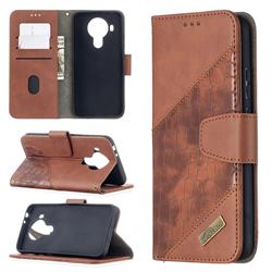 BinfenColor BF04 Color Block Stitching Crocodile Leather Case Cover for Nokia 5.4 - Brown