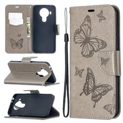 Embossing Double Butterfly Leather Wallet Case for Nokia 5.4 - Gray