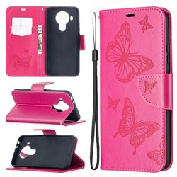 Embossing Double Butterfly Leather Wallet Case for Nokia 5.4 - Red