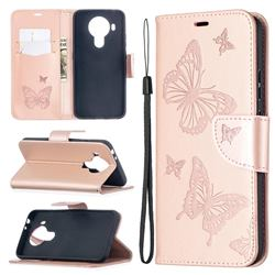 Embossing Double Butterfly Leather Wallet Case for Nokia 5.4 - Rose Gold