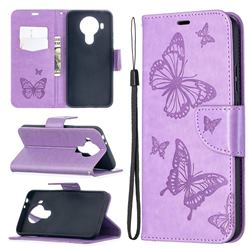 Embossing Double Butterfly Leather Wallet Case for Nokia 5.4 - Purple