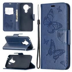 Embossing Double Butterfly Leather Wallet Case for Nokia 5.4 - Dark Blue