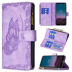 Binfen Color Imprint Vivid Butterfly Buckle Zipper Multi-function Leather Phone Wallet for Nokia 5.4 - Purple