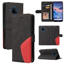 Luxury Two-color Stitching Leather Wallet Case Cover for Nokia 5.4 - Black