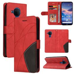 Luxury Two-color Stitching Leather Wallet Case Cover for Nokia 5.4 - Red