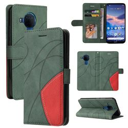 Luxury Two-color Stitching Leather Wallet Case Cover for Nokia 5.4 - Green