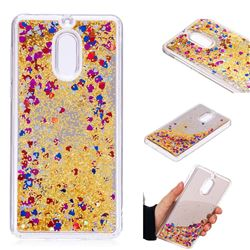 Glitter Sand Mirror Quicksand Dynamic Liquid Star TPU Case for Nokia 6 Nokia6 - Yellow