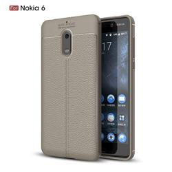 Luxury Auto Focus Litchi Texture Silicone TPU Back Cover for Nokia 6 Nokia6 - Gray