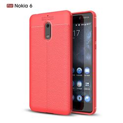 Luxury Auto Focus Litchi Texture Silicone TPU Back Cover for Nokia 6 Nokia6 - Red