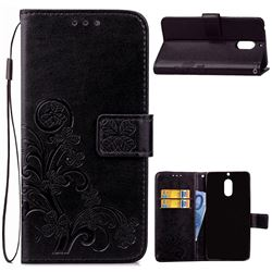 Embossing Imprint Four-Leaf Clover Leather Wallet Case for Nokia 6 Nokia6 - Black