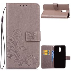 Embossing Imprint Four-Leaf Clover Leather Wallet Case for Nokia 6 Nokia6 - Grey