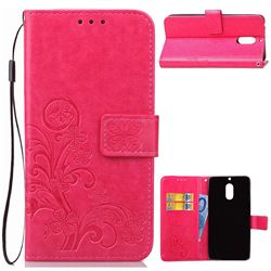 Embossing Imprint Four-Leaf Clover Leather Wallet Case for Nokia 6 Nokia6 - Rose