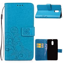 Embossing Imprint Four-Leaf Clover Leather Wallet Case for Nokia 6 Nokia6 - Blue