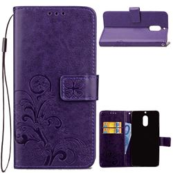 Embossing Imprint Four-Leaf Clover Leather Wallet Case for Nokia 6 Nokia6 - Purple