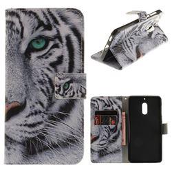 White Tiger PU Leather Wallet Case for Nokia 6 Nokia6