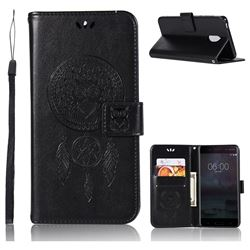 Intricate Embossing Owl Campanula Leather Wallet Case for Nokia 6 Nokia6 - Black