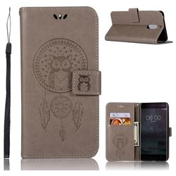 Intricate Embossing Owl Campanula Leather Wallet Case for Nokia 6 Nokia6 - Grey