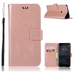 Intricate Embossing Owl Campanula Leather Wallet Case for Nokia 6 Nokia6 - Rose Gold