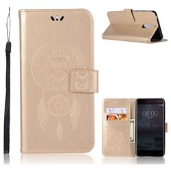 Intricate Embossing Owl Campanula Leather Wallet Case for Nokia 6 Nokia6 - Champagne