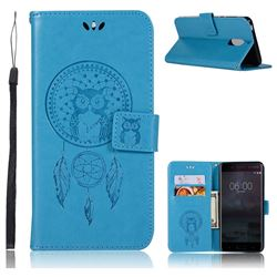 Intricate Embossing Owl Campanula Leather Wallet Case for Nokia 6 Nokia6 - Blue