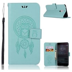 Intricate Embossing Owl Campanula Leather Wallet Case for Nokia 6 Nokia6 - Green