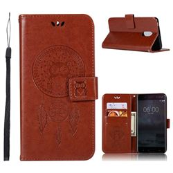 Intricate Embossing Owl Campanula Leather Wallet Case for Nokia 6 Nokia6 - Brown