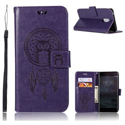 Intricate Embossing Owl Campanula Leather Wallet Case for Nokia 6 Nokia6 - Purple