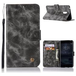 Luxury Retro Leather Wallet Case for Nokia 6 Nokia6 - Gray