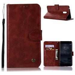 Luxury Retro Leather Wallet Case for Nokia 6 Nokia6 - Wine Red