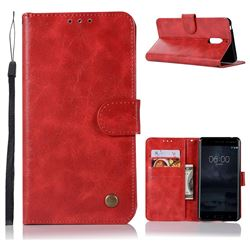Luxury Retro Leather Wallet Case for Nokia 6 Nokia6 - Red
