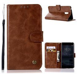 Luxury Retro Leather Wallet Case for Nokia 6 Nokia6 - Brown