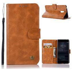 Luxury Retro Leather Wallet Case for Nokia 6 Nokia6 - Golden