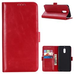 Luxury Crazy Horse PU Leather Wallet Case for Nokia 6 Nokia6 - Red