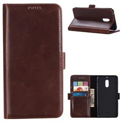 Luxury Crazy Horse PU Leather Wallet Case for Nokia 6 Nokia6 - Coffee